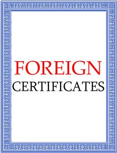 Foreign Certificates
