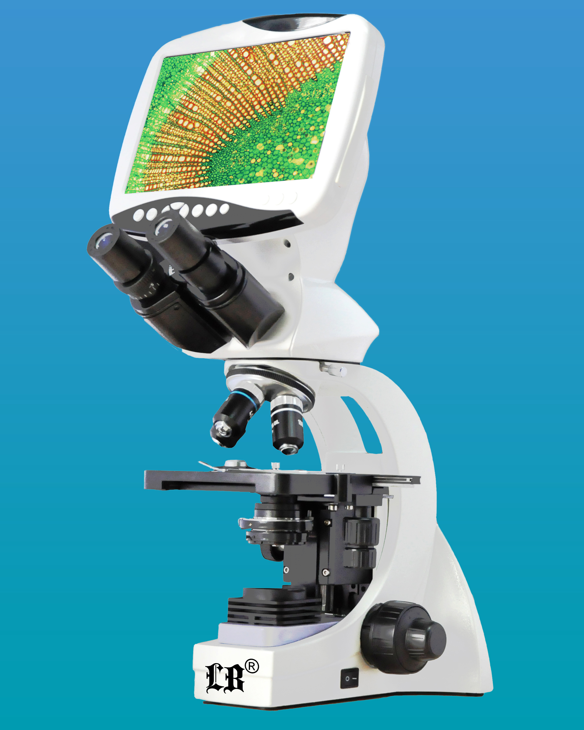 [LB-1261] Compound LCD Digital Biological Microscope w/ Extra Wide Field & Achromatic Optical System  (Infinity Color Corrected System) (12.0MP)