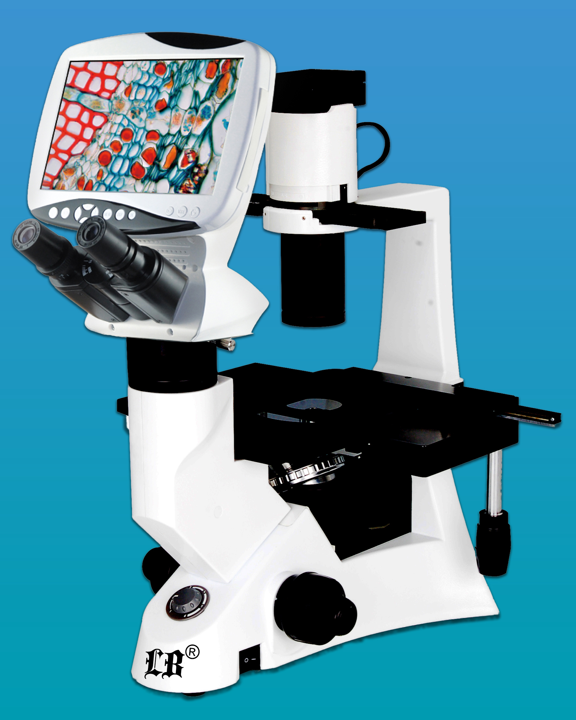 [LB-1290] Compound Digital LCD Inverted Biological Microscope w/ Infinite Optical System