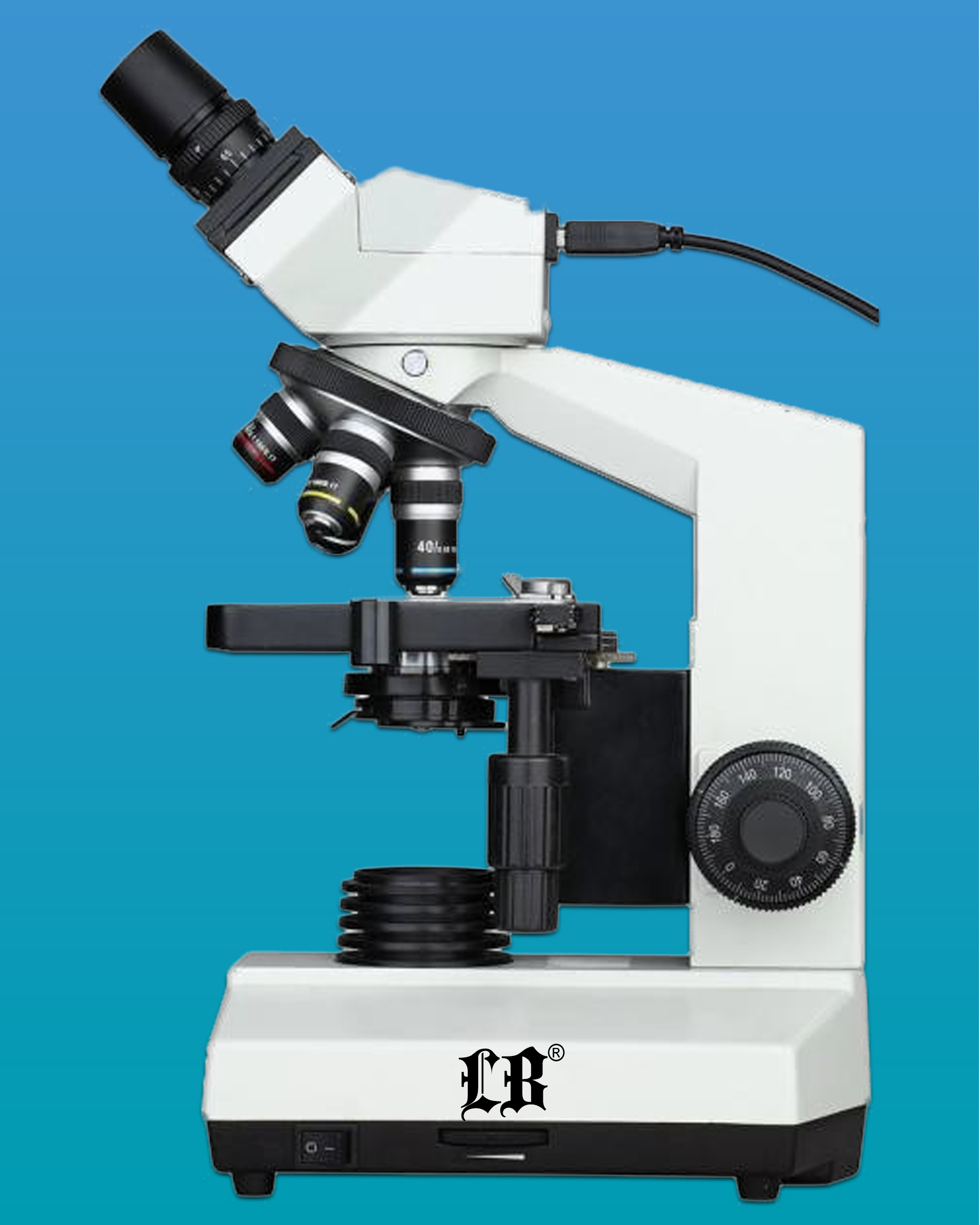 [LB-230] Binocular Biological Digital Microscope w/ LED Illumination & 1.3 MP Camera