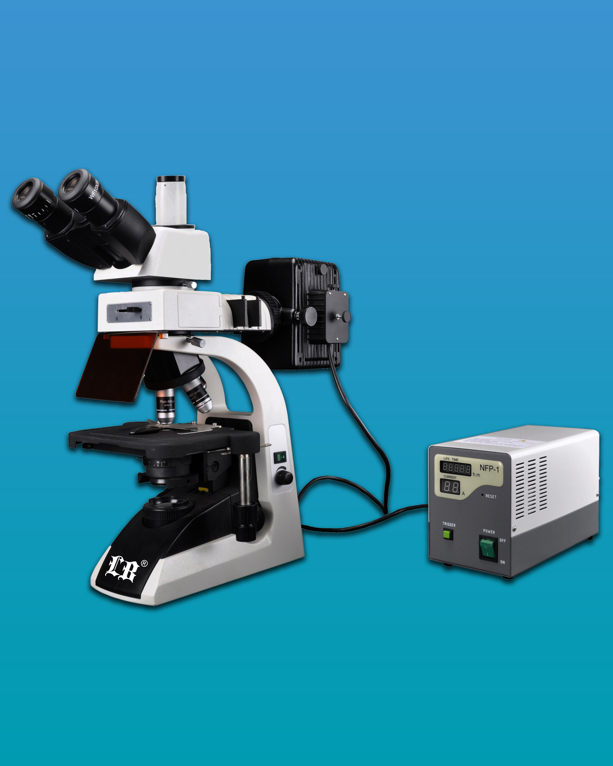 [LB-279] Fluorescent Trinocular Biological Microscope  w/ Infinite Optical System & Extra Wide Field