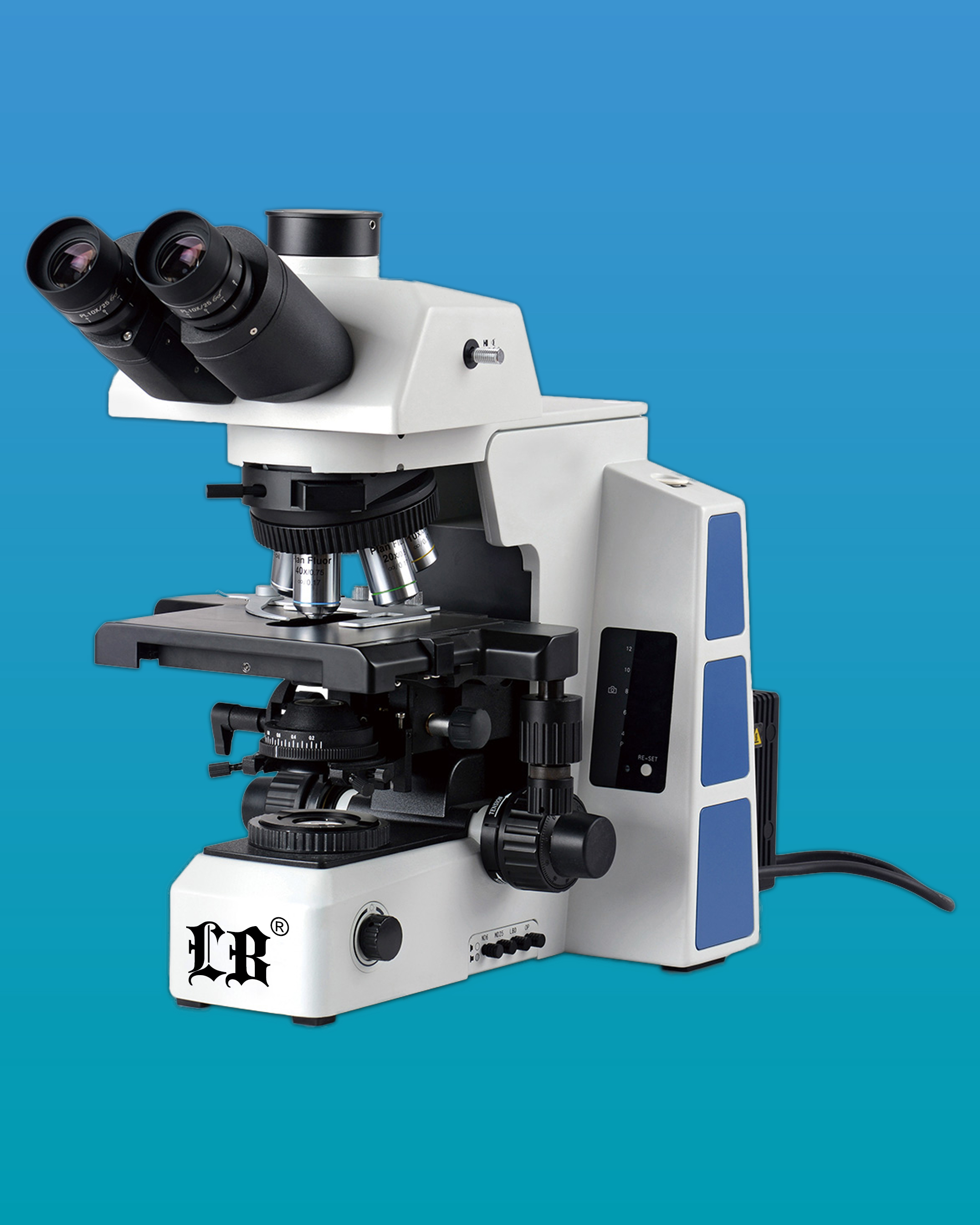 [LB-284] Research Trinocular Biological Microscope w/ Plan Semi-Apochromatic Fluorescent Objectives