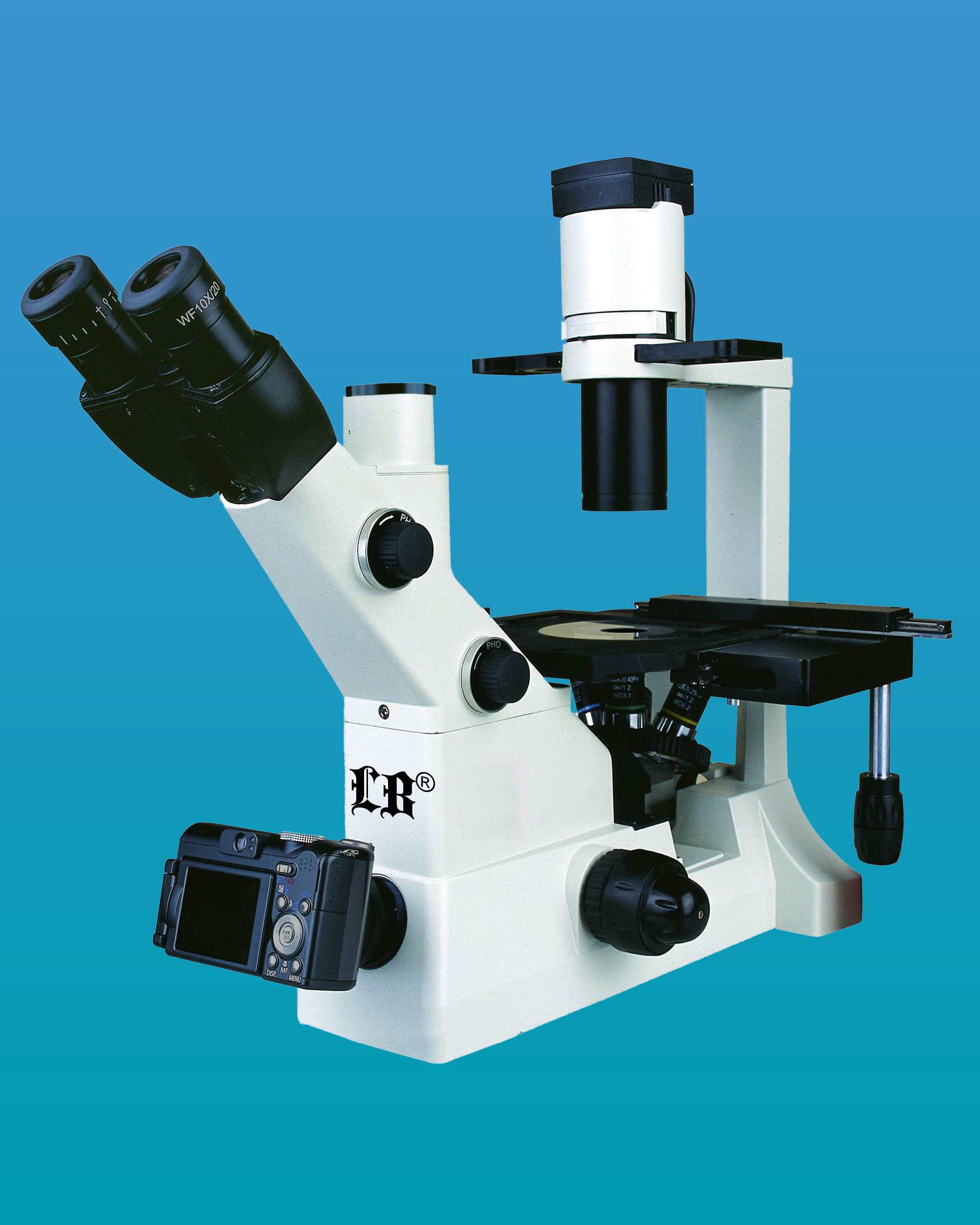 [LB-291] Inverted Trinocular Biological Microscope w/ Infinite Optical System