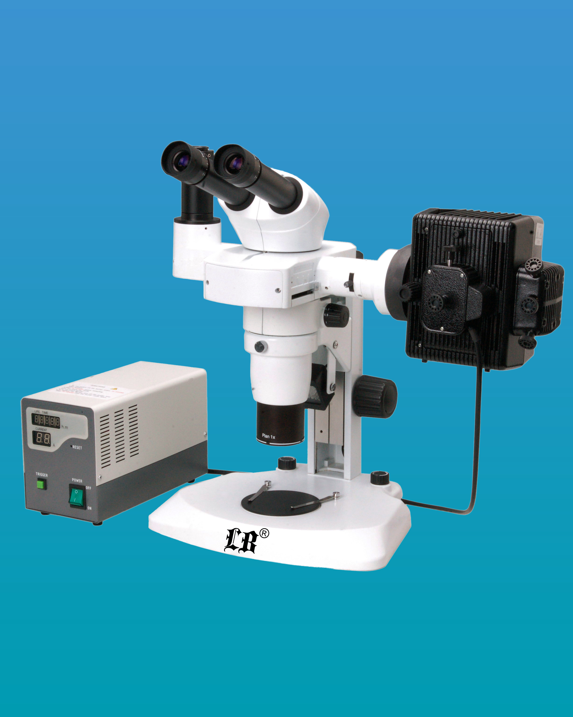 [LB-368] Binocular Zoom Fluorescent Stereo Microscope w/ Infinite Parallel Zoom Optical System & LED Illumination