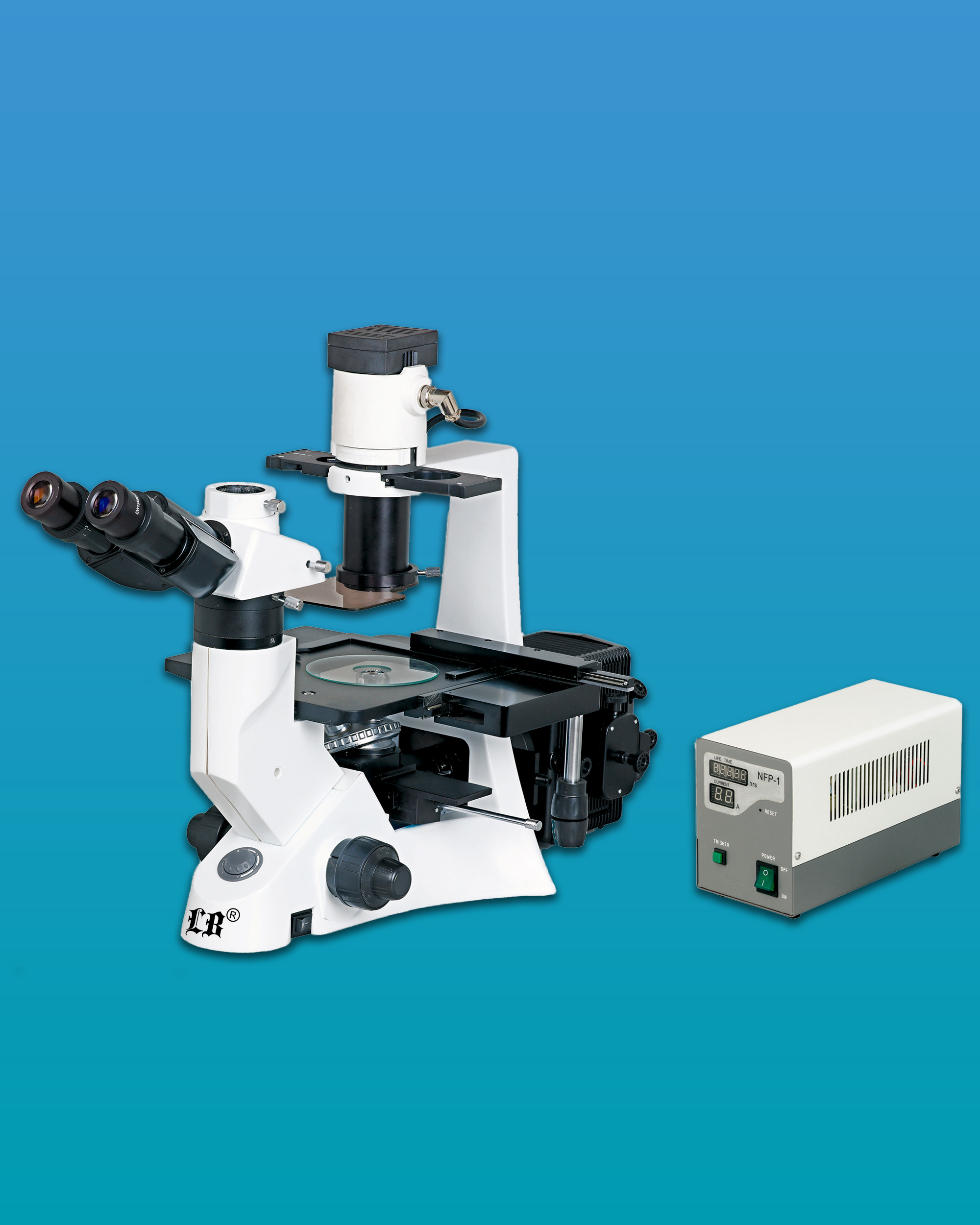 [LB-702] Inverted Trinocular Flourescent Biological Microscope w/ Infinite Optical System