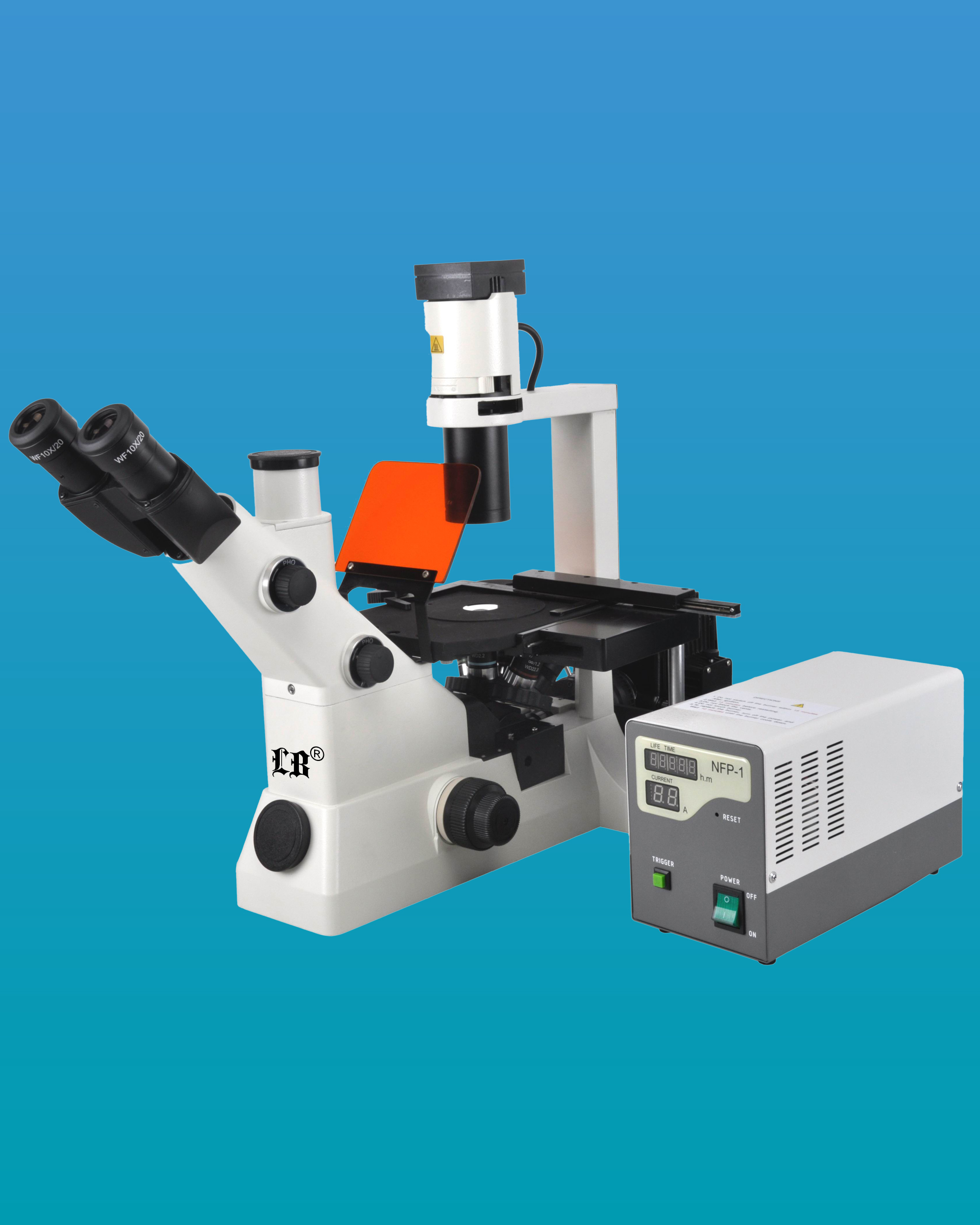 [LB-705] Trinocular Inverted Flourescent Biological Microscope w/ Wide Field & Infinite Optical System