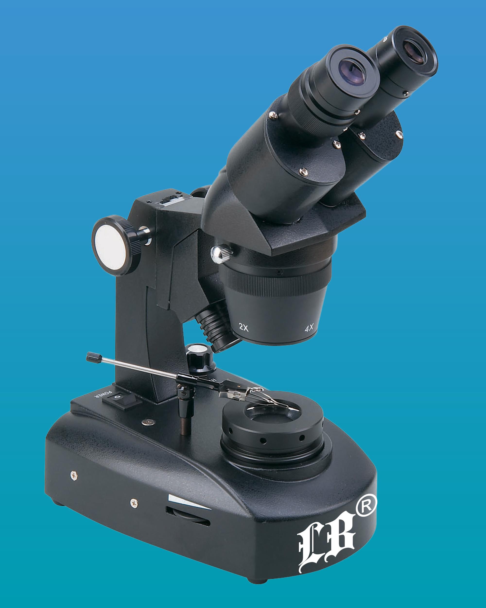 [LB-862] Binocular Gemological Microscope w/ Wide Field, Incident & Transmitted Halogen Illumination