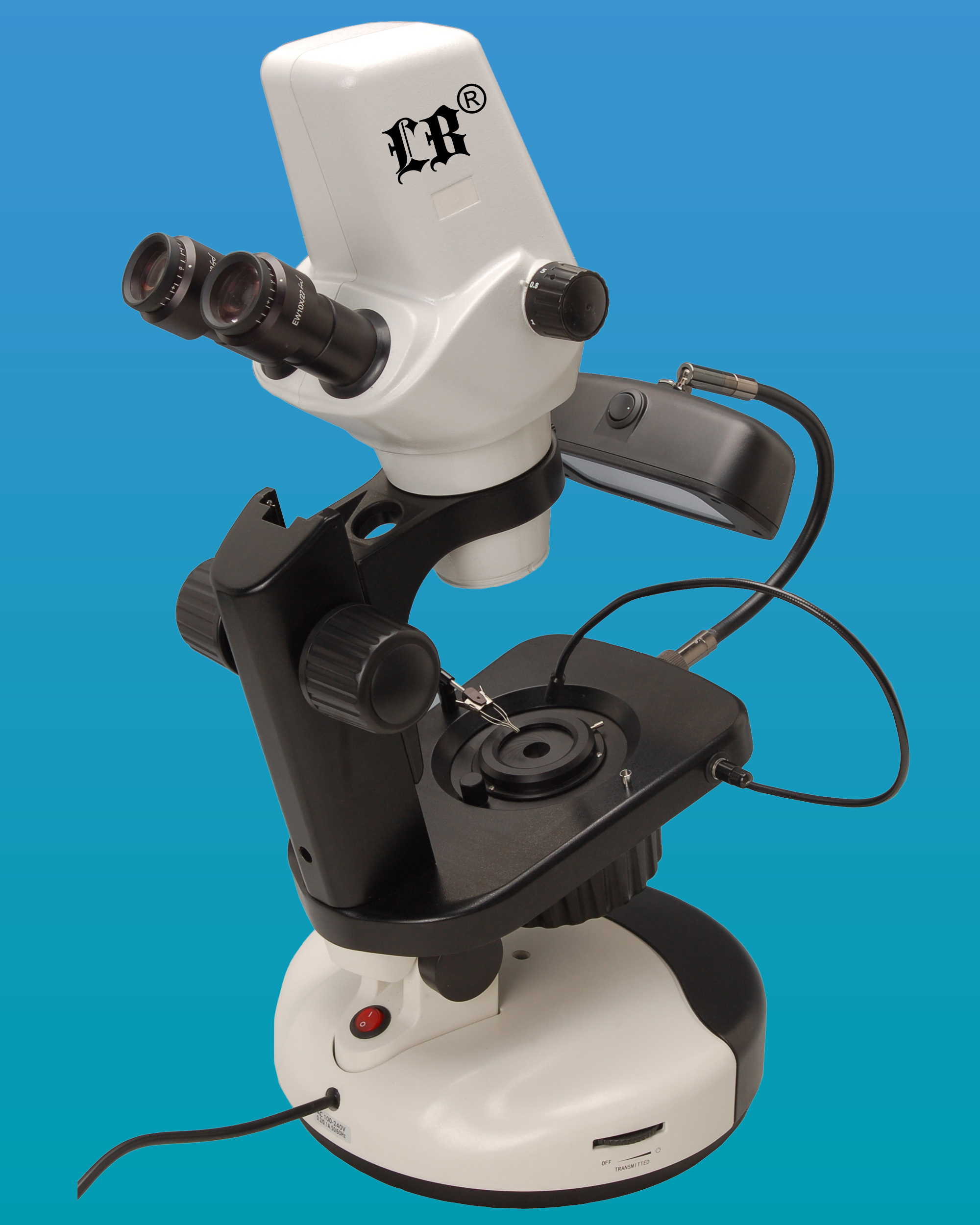 [LB-867] Binocular Digital Stereo Zoom Gemological Microscope w/ Extra Wide Field, 3.2MP Digital Camera, Halogen & Fluorescent Illumination