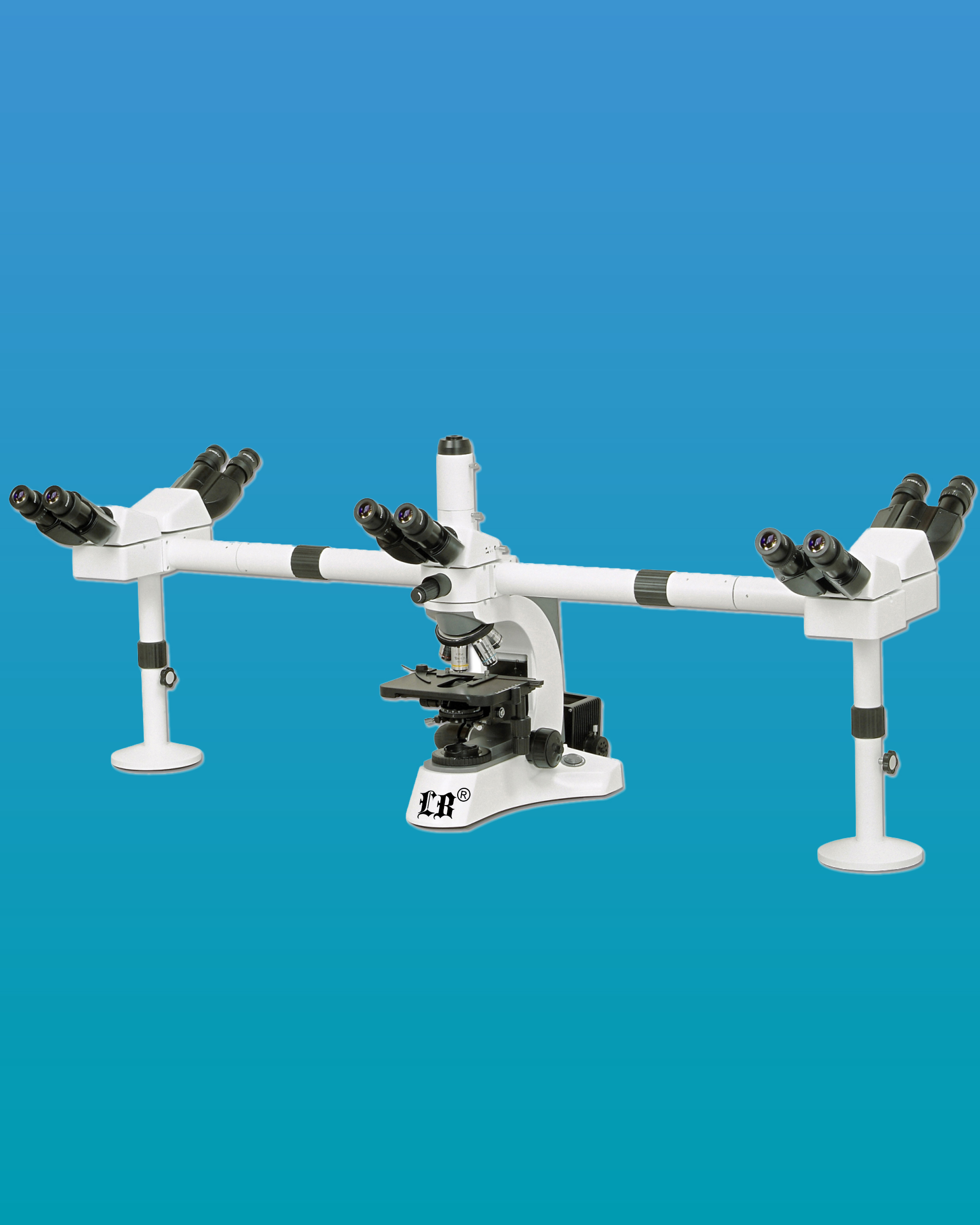 [LB-984] Multi-Head Microscope for 6 Simultaneous Users, 5 Users w/ a Binocular Head & Trinocular Head