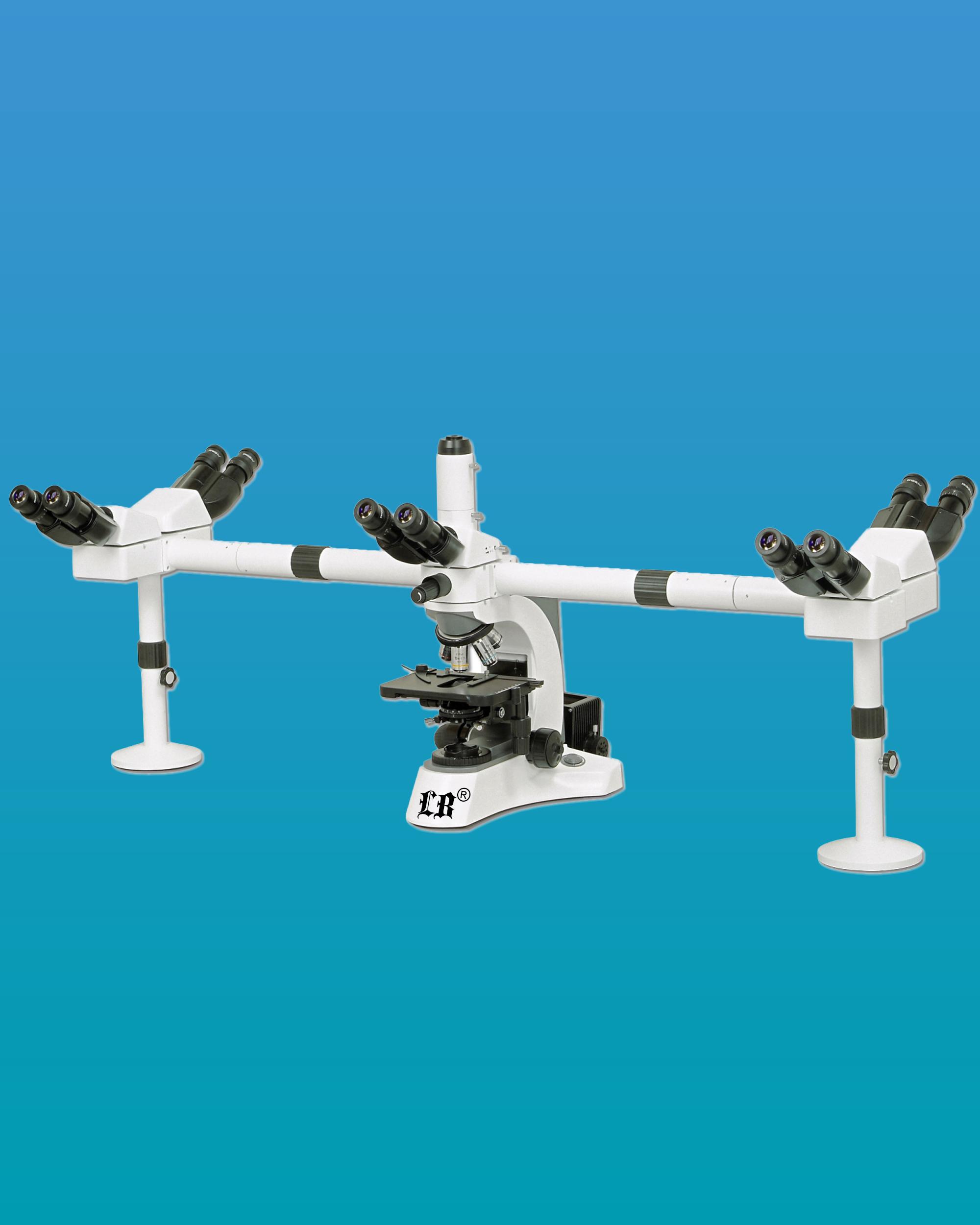 [LB-984] Multi-Head Microscope for 6 Simultaneous Users, 5 Users w/ a Binocular Head & Trinocular Head
