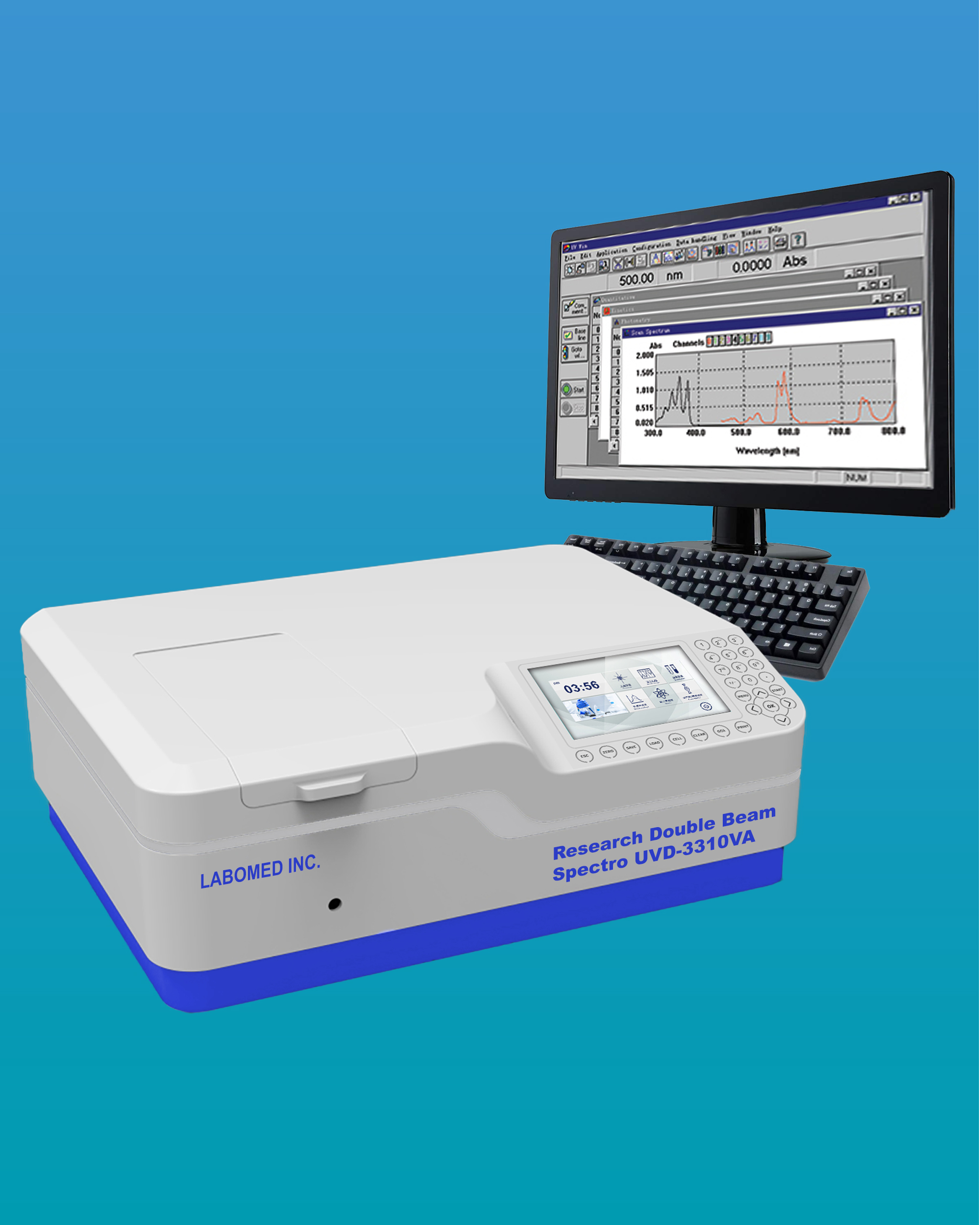 [UVD-3310VA] Double Beam Spectrophotometer w/ Photometric Range -4~4A & Spectral Bandwidth 0.5/1/2/4/5
