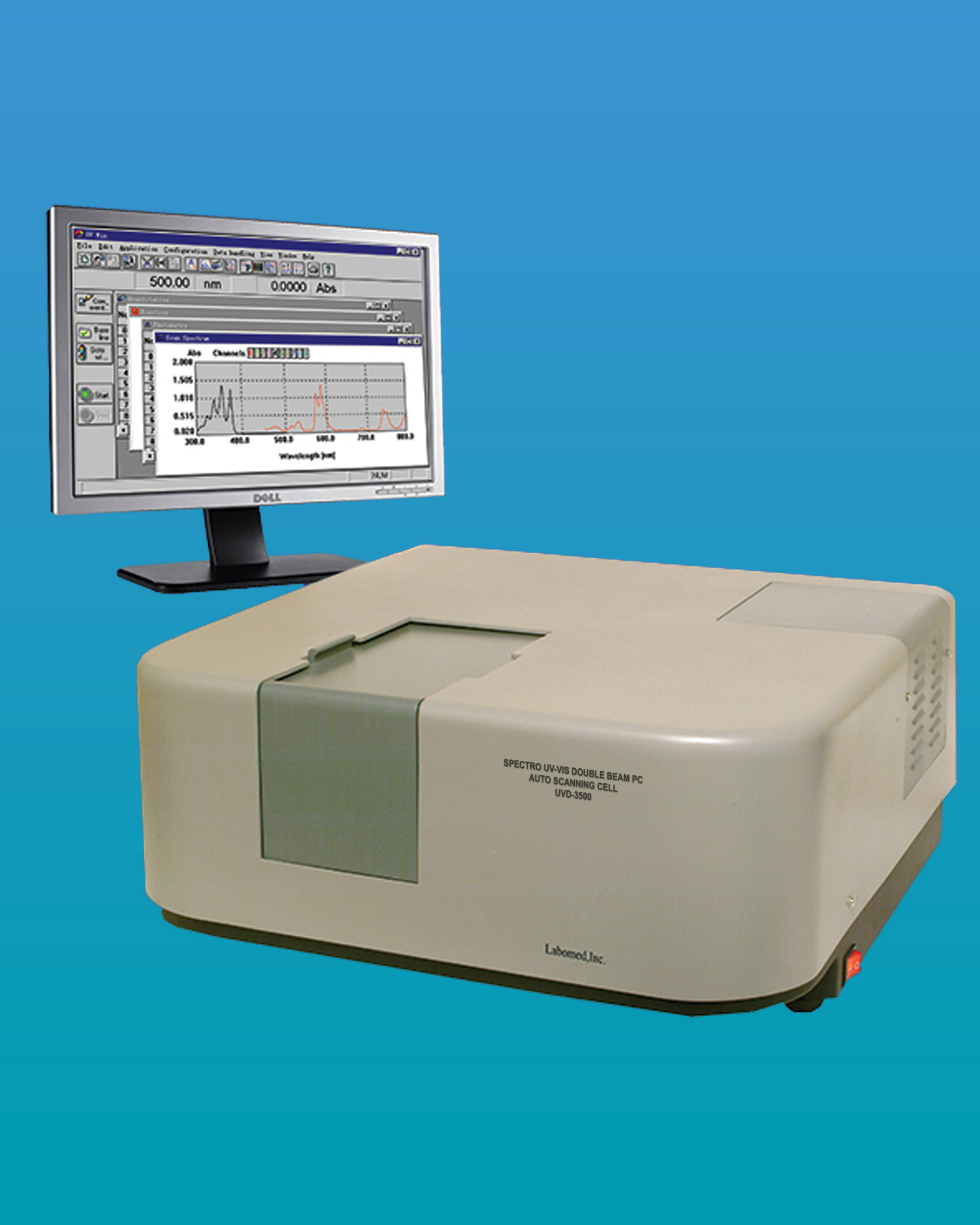 [UVD-3500] Spectro UV-VIS Double Beam Research Spectrophotometer w/ Photometric Range -4~4A & Variable Bandwidth