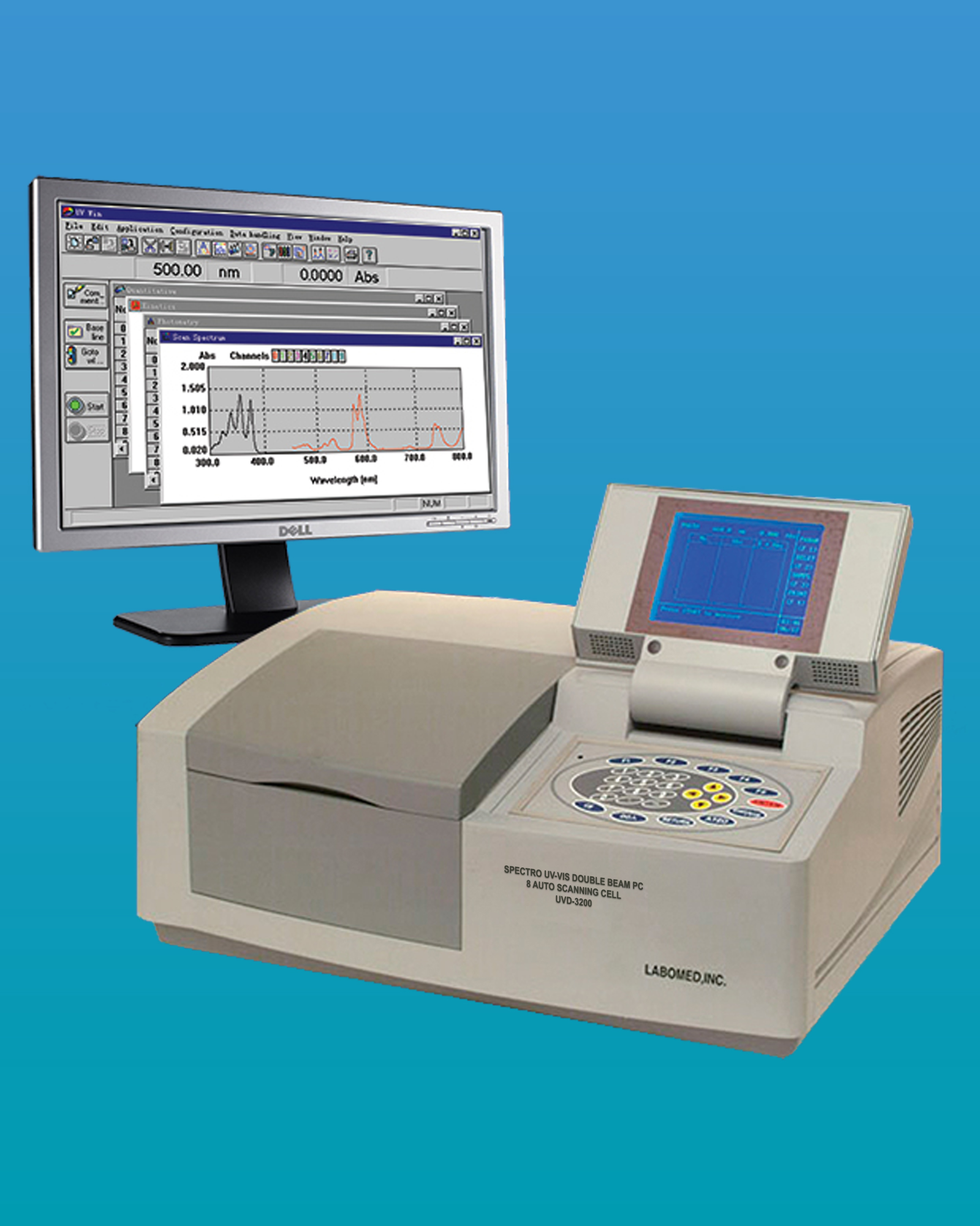 [UVD-3200] Spectro UV-VIS Double PC 8 Auto Cell Scanning Spectrophotometer
