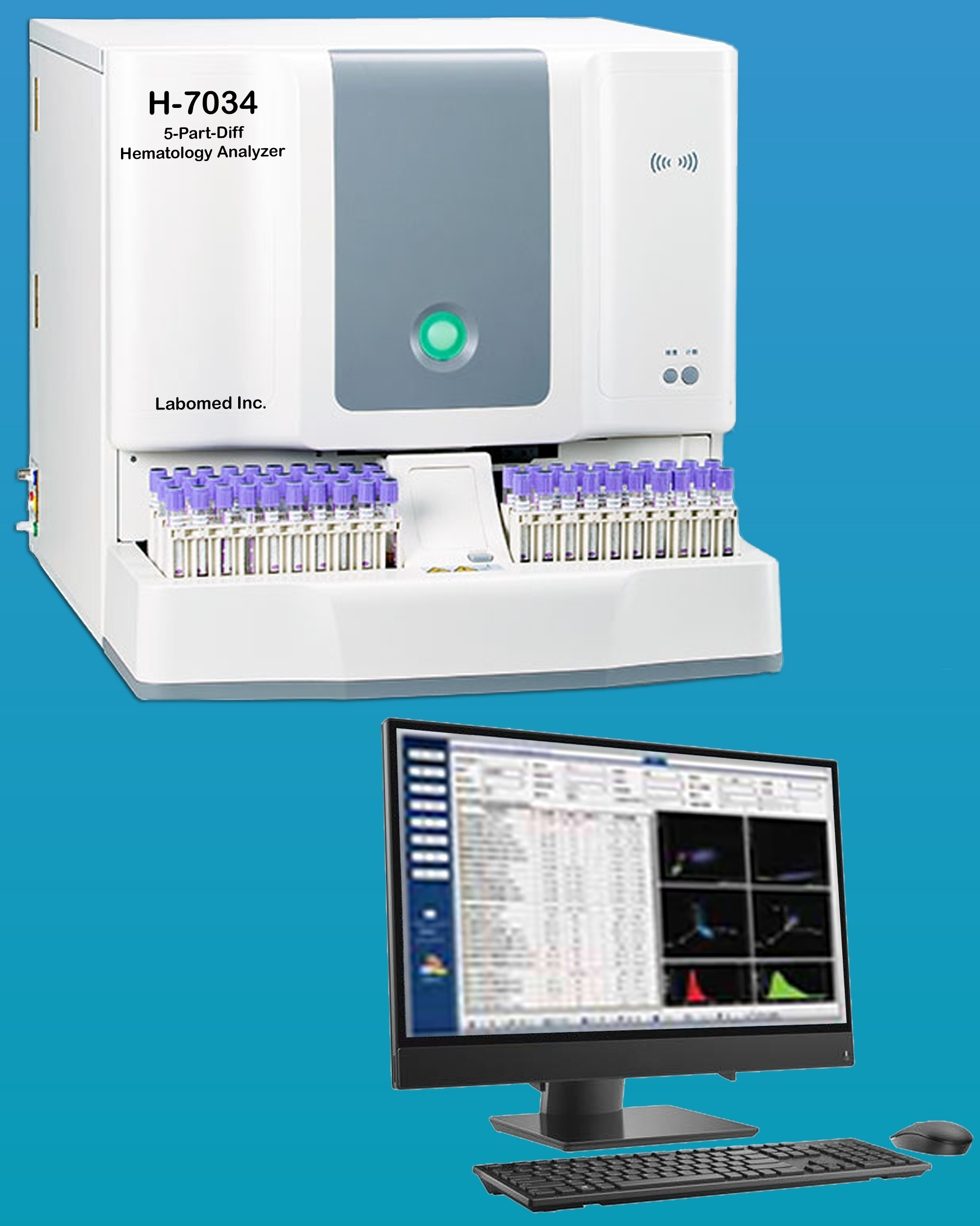 [H-7034] Fully Automatic Hematology Analyzer with Reticulocyte Testing, Auto Sampler, 34 Parameter and 60 Test / Hour