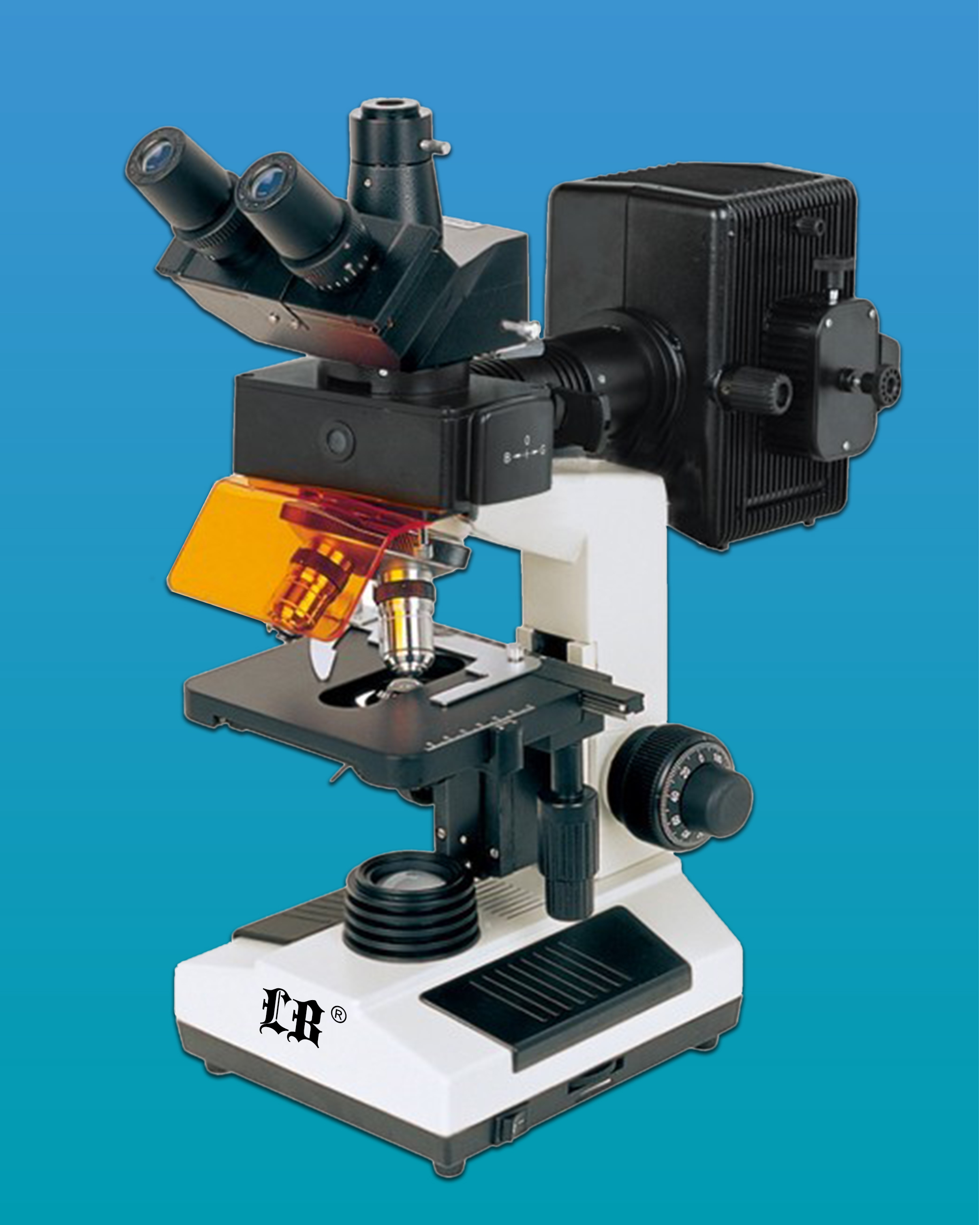[LB-208T] Fluorescent Biological Trinocular Microscope with Achromatic Objective 4×, 10×, 40×, 100×